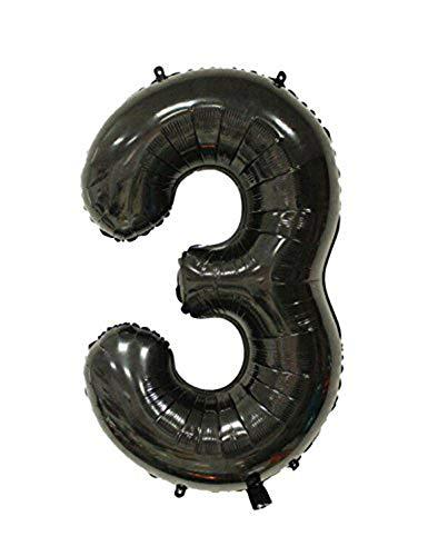 Tellpet Black Number 3 Balloon, 40 -