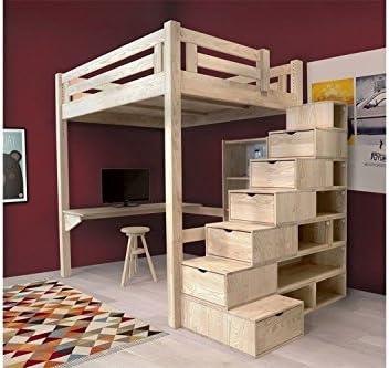 Hochbett Alpage 120 X 200 Cm Holz Roh Treppe Cube