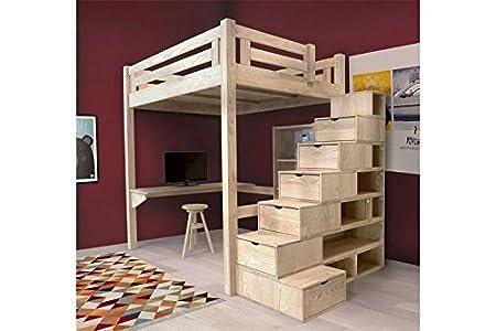 Etagenbett Unten 120 Oben 90 : Hochbett alpage 120 x 200 cm holz roh treppe cube höhenverstellbar
