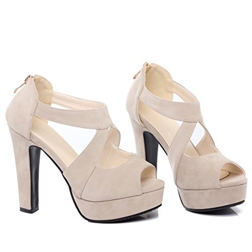 Women White TAOFFEN Toe Heel Criss Block Fashion Sandals High Peep Shoes Cross dqrq4A
