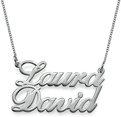 16 Inches Sterling Silver Two Name Necklace