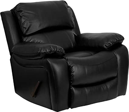 amazon com flash furniture black leather rocker recliner kitchen rh amazon com black leather recliner sofa black leather recliner couch set