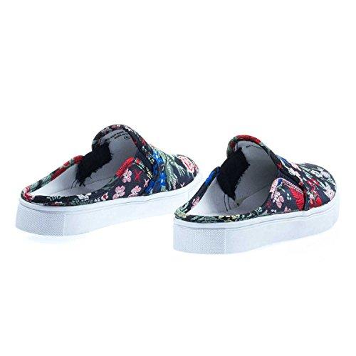 Sneaker Mocassino Da Donna, Soda Womens, Fondello Aperto Con Scarpette Floreali Ricamate Blu Floreale