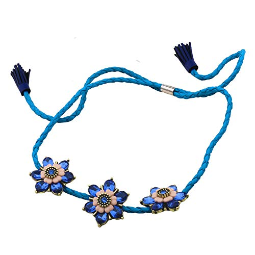 - Z&HA Necklets for Women Sweet Leather Fashion Crystal Flowers Short Necklace Lanyard for Female Student Girl Jewellery