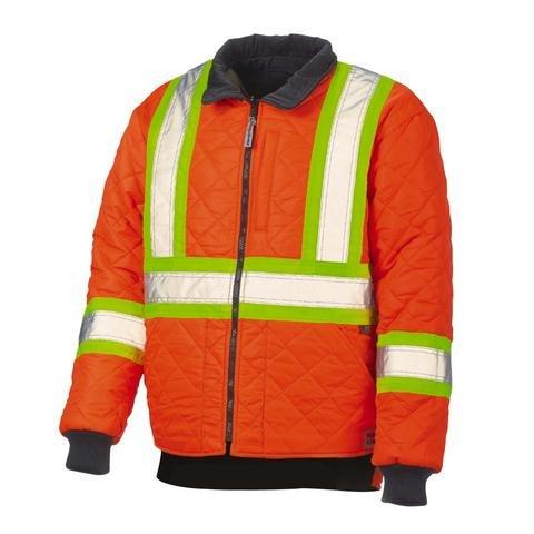 Work King Safety Men's Duck HI VIS Reversible Jacket, Flor S