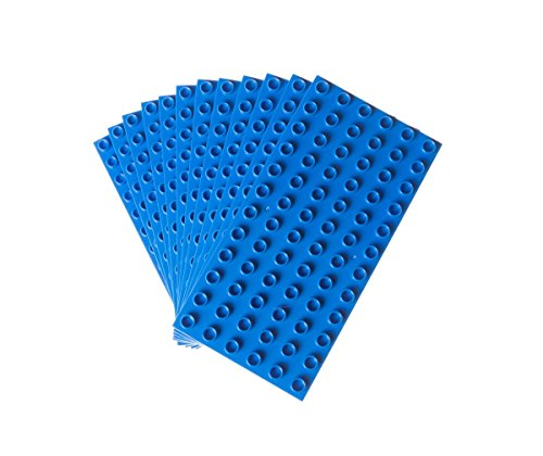 Classic Big Briks Baseplates by Strictly Bricks   Premium 7.5 x 3.75 Large Brick Building Base Plates   100% Compatible with All Major Large Brick Brands   12 Stackable Baseplates: Blue