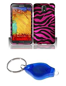 Black and Hot Pink Zebra Stripes Design Shield Case + Atom LED Keychain Light for Samsung Galaxy Note 3