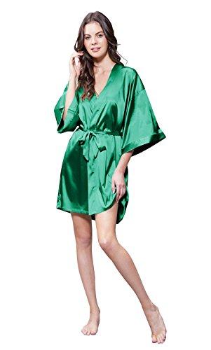 Turquaz Linen Satin Kimono Bridesmaids Robe (Small/Medium, Lush Meadow (Meadow Green Satin)