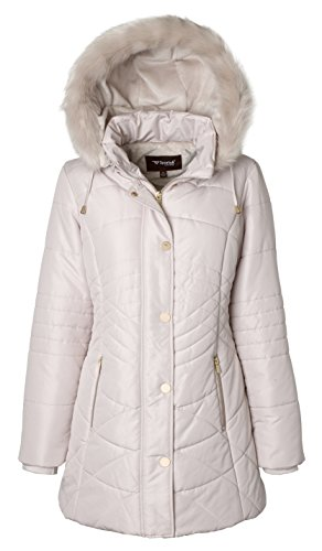 Pink Down Coat (Sportoli Women's Longer Length Plush Lined Puffer Coat and Zip-off Detacheable Fur Trim Hood - Angora (Small))