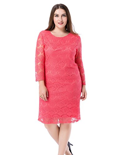 b85dd219f0 Chicwe Women s Plus Size Lined Lace Dress - 3 4 Sleeves Knee Length Work  Casual