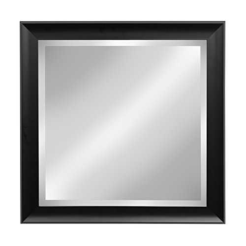 Kate and Laurel Scoop Black 24x24 Square Framed Beveled Wall - Beveled Bathroom Mirrors Black
