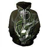 Men's Hooded Long Sleeve 3D Digital Print Animal Print Design Couple Pullover Hoodies Fashion Hoodies(L,Black)