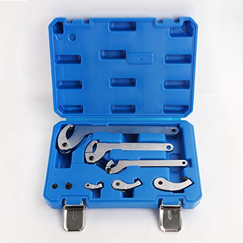 Adjustable Hook & Pin Wrench Set with 4 Lock Nut Rings Bearings Motorcycle Suspension ()