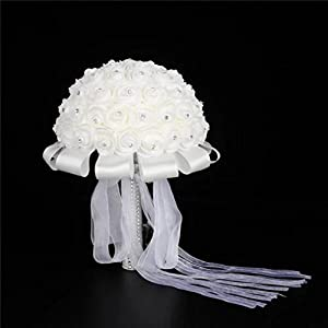 Wedding Bouquet ,YJYdada Handmade Bridal Artificial Foam Roses Flower Bouquet Wedding Bride Party Decor 34