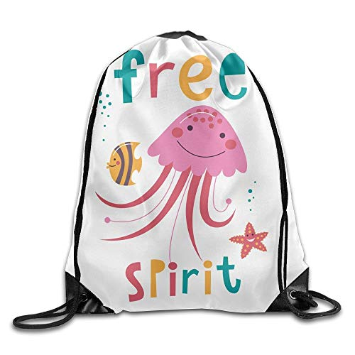 - heneaop Portable Sport Gym Sack Drawstring Backpack Bag - Coral Fish - Purple