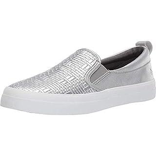 SPERRY Women's Crest Twin Gore Woven Emboss Sneaker, Silver, 6.5