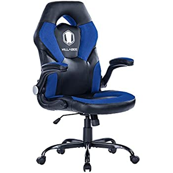 KILLABEE Racing Style Gaming Chair Flip-Up Arms - Ergonomic Leather & Mesh Computer Desk Office Chair, Blue & Black