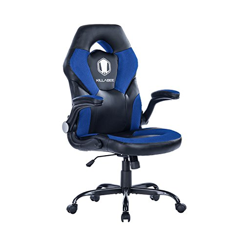 KILLABEE Racing Style Gaming Chair Flip-Up Arms - Ergonomic Leather & Mesh Computer Desk Office Chair, Blue & Black by KILLABEE