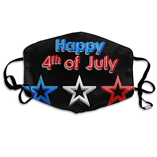 YUIOP Happy 4th of July Printed Mask Neutral Mask for Men and Women Polyester Dust-Proof Breathable Mask