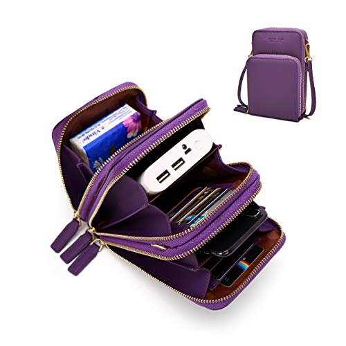- Small Leather Crossbody Phone Bags for Women with Card Slots, 6.5