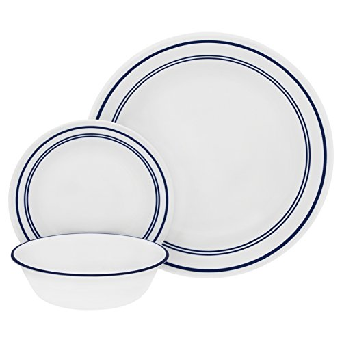 Corelle 18-Piece Service for 8, Chip Resistant, Classic Café Blue Dinnerware ()