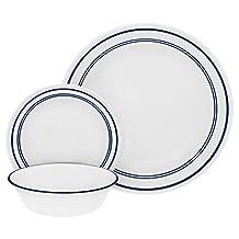 "Corelle 18 Piece ""Classic Cafe Blue"" Livingware Dinnerware Set, White"