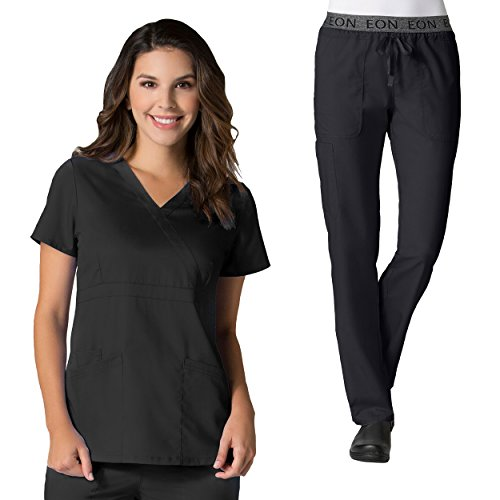 Maevn Eon Active Back Mesh Panel Mock Wrap Top & Waistband Cargo Scrub Pant ()