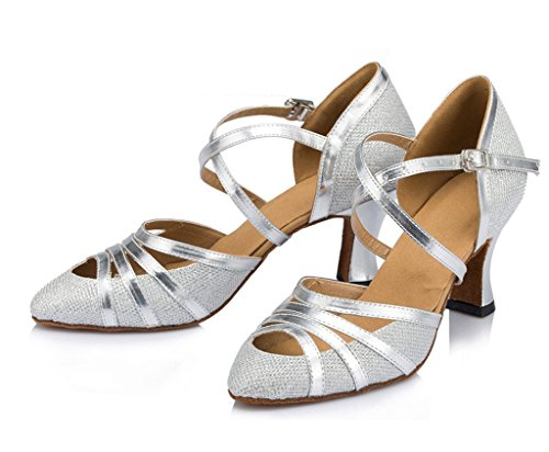 Soire Cuir Dames Pu Femmes Samba Maille En Sandales Cm De Tango Argent Marie Ballrom 7 Salsa Chaussures Meijili Talon Moderne Danse EqzZSwnxZ1