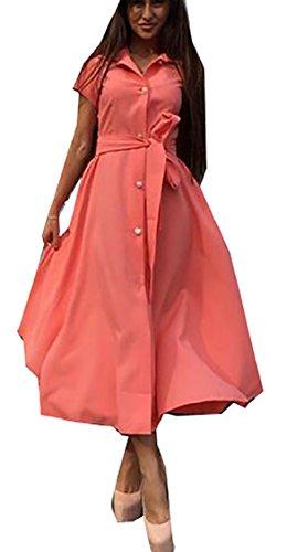 Women's with Button Short Beach Pockets Belt Dress Orange Jaycargogo Sleeve Down Midi dfSz4dqwI
