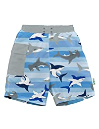 i play. by green sprouts baby-boys Trunks with Built-in Reusable Swim Diaper,Blue Shark Stripe,3T
