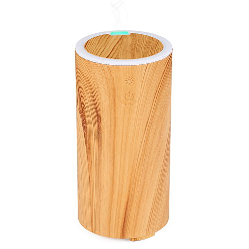 NexGadget 50ML Mini Usb Car Essential Oil Purifier Diffuser - Computer Portable Mini Ultrasonic Cool Mist Aroma Air Humidifier for Home,Office, Car,Travel&More - Light Wood Grain