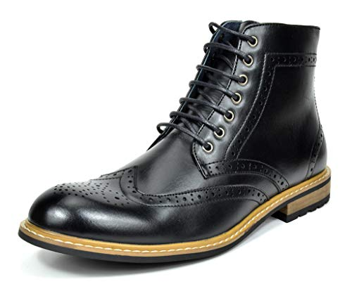 Bruno Marc Men's Bergen-01 Black Leather Lined Oxfords Dress Ankle Boots - 10.5 M US (Wingtip Zipper Boot)