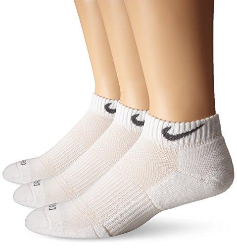 Nike Unisex Dri-FIT Cushion Low Cut 3 Pack White/Flint Grey LG (Men's Shoe 8-12, Women's Shoe 10-13)