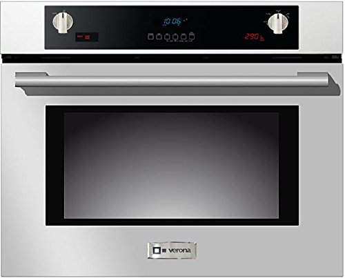 Verona VEBIEM3024SS 30″ Electric Wall Oven with 3 Cu. Ft. Capacity Pyrolytic Self Cleaning Multi-Function European Convection Oven 3 Pane Heat Resistant Glass and Auto Door Lock in Stainless