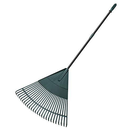 ORIENTOOLS Garden Leaf Rake, Adjustable Lightweight Steel Handle, Comfortable Grip Handle, Plastic Head,Poly Shrub Rake,26 Tines,43 to 66 inches (Black Handle)