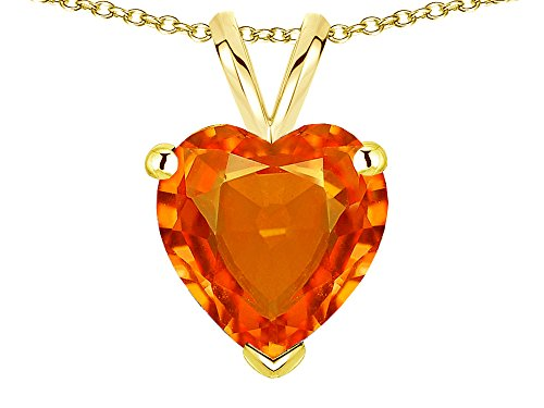 Star K Simulated Orange Mexican Fire Opal 8mm Heart Pendant Necklace 10 kt Yellow -