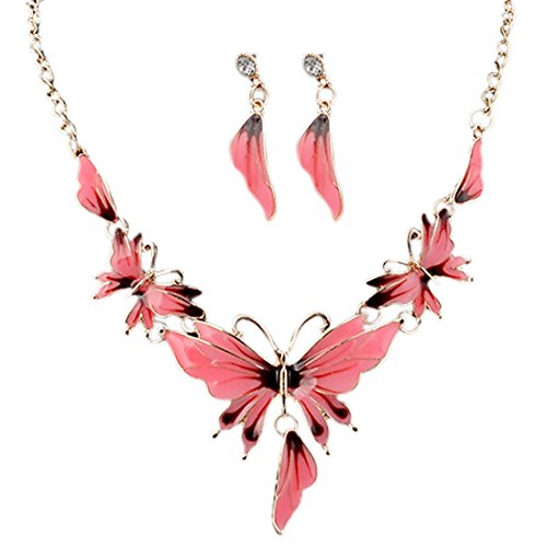 Lariat Earrings Set - Qiyun (TM) Enamel Butterfly Pendant Bib Fringe Y Neck Lariat Necklace Stud Earrings Set