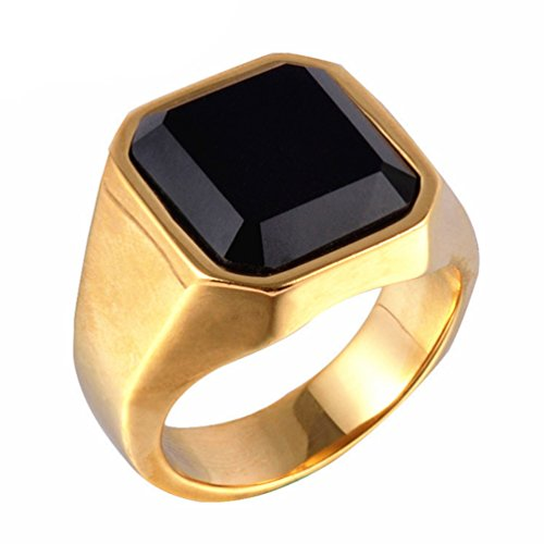 Z&X Men's Stainless Steel Band Square Black Onyx Signet Ring Wedding Gift Gold Size 10 -
