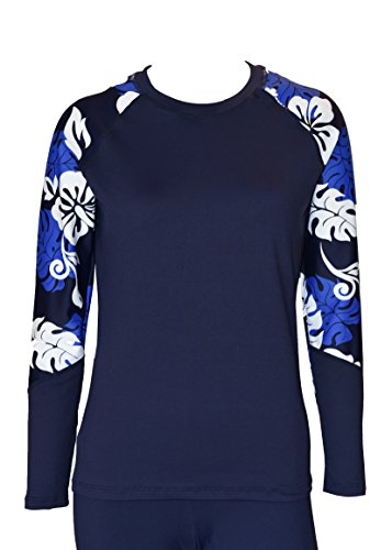 i Women UV Wetsuits Long Raglan Sleeve Rash Guard Top Navy with Blue White Medium ()