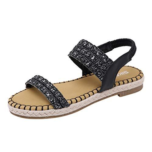 (Mysky Popular Women Summer Sweet Sequin Belt Peep Toe Hemp Bottom Stretch Band Sandals)
