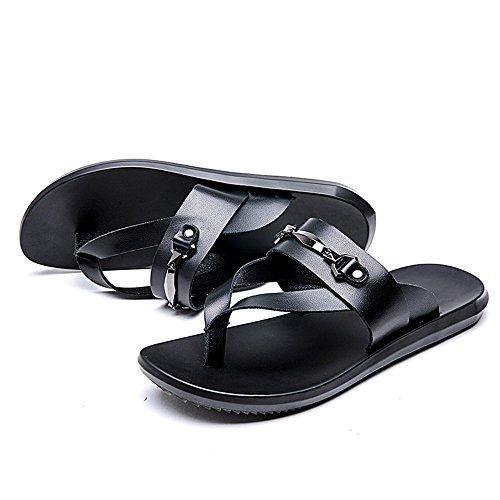 EU spiaggia Infradito Dimensione 2018 da piatti Sandali 43 casual da Infradito Color uomo Pantofole spiaggia Nero morbidi in shoes da Nero Mens antiscivolo pelle vera fqEw6qg