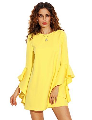 SheIn Women's Ruffle Long Sleeve Shift M - Yellow Ruffle Shopping Results