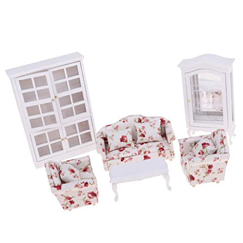 NATFUR 1/12 Scale Dollhouse Furniture Sofa End Table and Vertical Display Cabinet