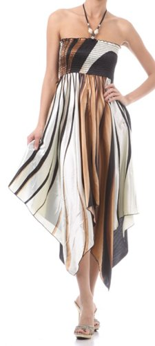 Bodice Halter Dress (Sakkas FOSatinSwirl12-5331 Swirl Design Satin Feel Beaded Halter Smocked Bodice Handkerchief Hem Dress - Brown/Medium)