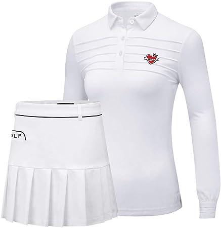 HAM-Fit Camisas de Golf con Cuello de Manga Larga y Falda ...