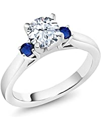 925 Sterling Silver White Zirconia Blue Simulated Sapphire 3-Stone Ring (1.76 Ctw Available in size 5, 6, 7, 8, 9)