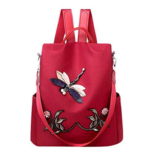 HENWERD Women Backpack Purse Oxford Anti-Theft Lightweight Large Capacity Shoulder Bags (Red)