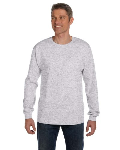 (Hanes mens 6.1 oz. Tagless ComfortSoft Long-Sleeve Pocket T-Shirt(5596)-ASH-2XL)