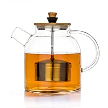 Tealyra - 1400ml - Glass Kettle and Teapot w/ Infuser - Stove-top Safe - Pitcher - Carafe - Borosilicate Glass - Stove-top Safe - No-Dripping - Tea Juice Water - Hot Cold & Ice