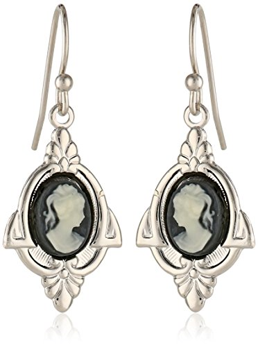 1928 Jewelry Embellish Vintage-Inspired Cameo Drop Earrings (Cameo Drop)